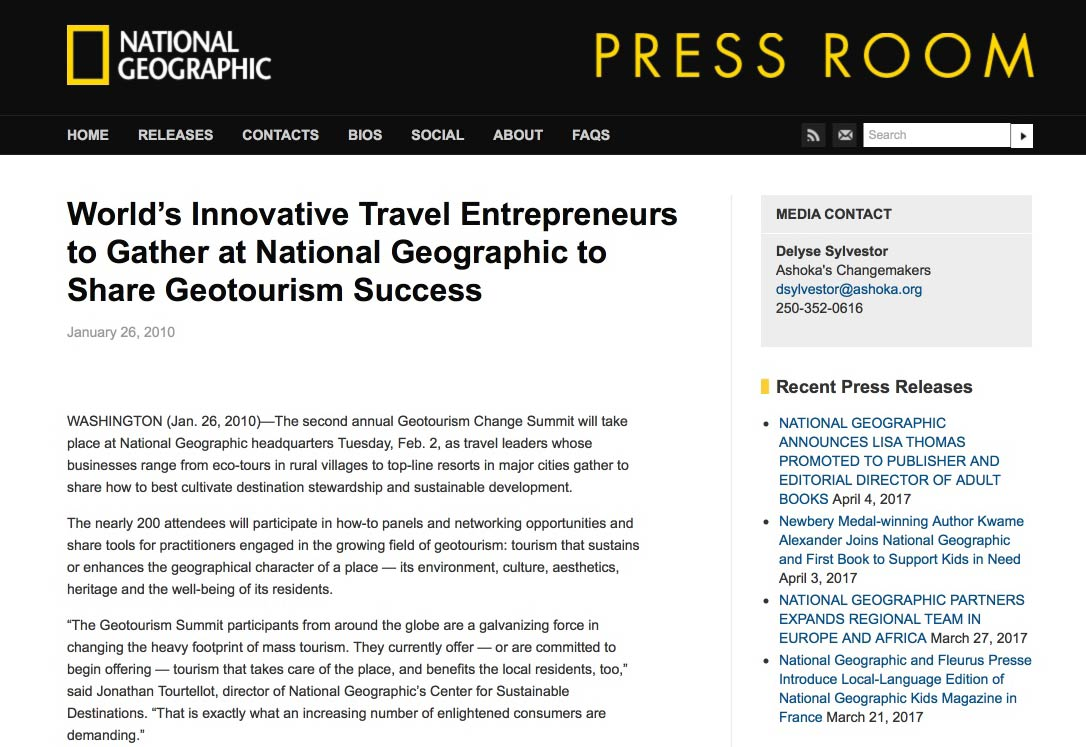 National Geographic Society - World's Most Innovative Travel Entrepreneurs