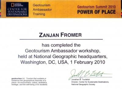 National Geographic Society - Zanjan Fromer - GEOtourism Ambassador